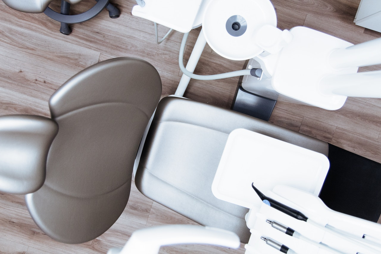 dental chair with suction line
