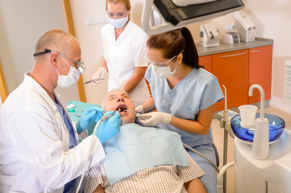 dentist and team working